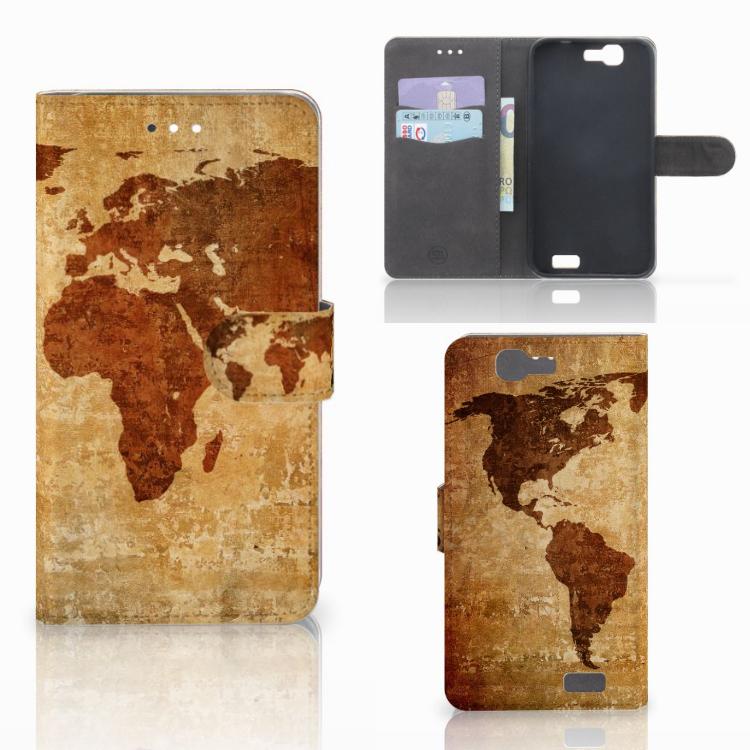 Huawei Ascend G7 Flip Cover Wereldkaart