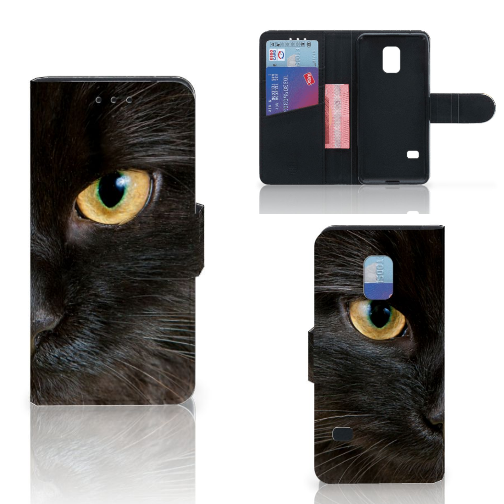Samsung Galaxy S5 Mini Telefoonhoesje met Pasjes Zwarte Kat