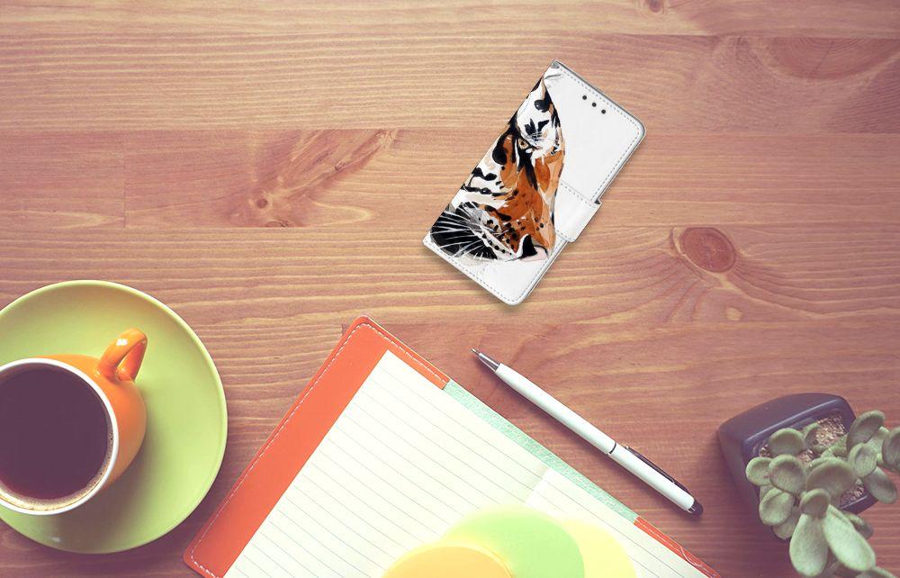 Samsung Galaxy A3 2015 Uniek Boekhoesje Watercolor Tiger