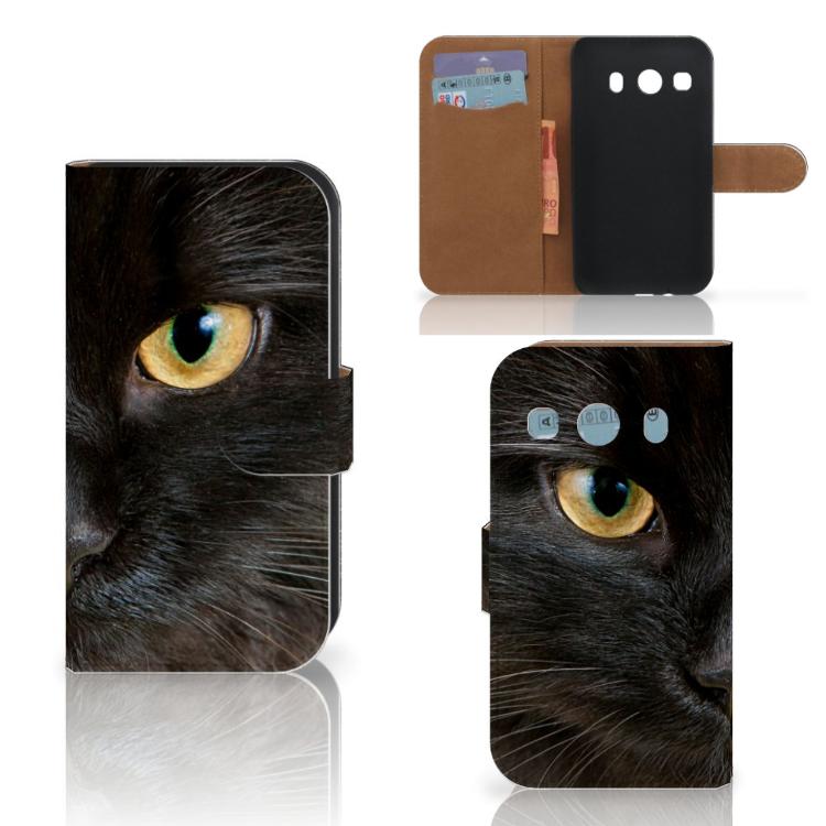 Samsung Galaxy Ace 4 4G (G357-FZ) Telefoonhoesje met Pasjes Zwarte Kat
