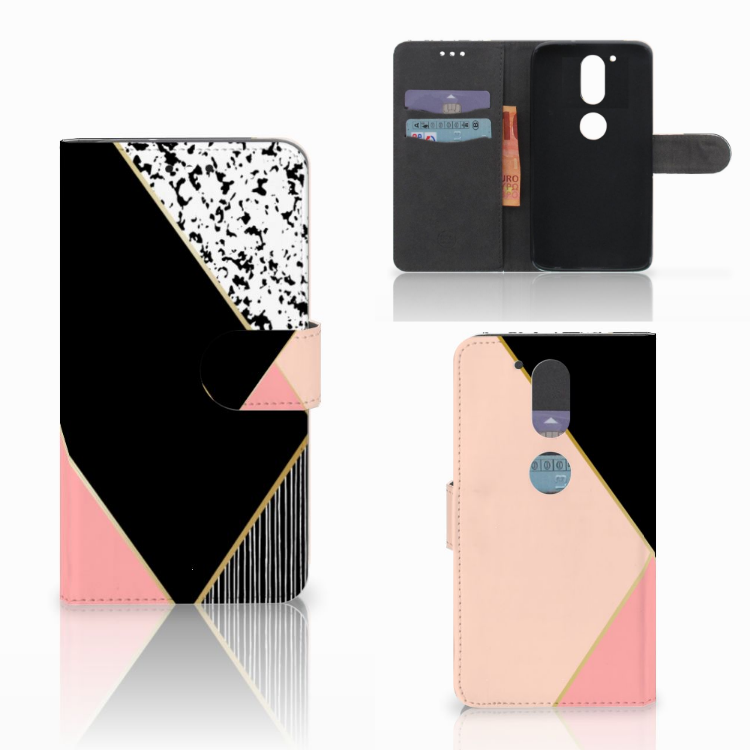 Motorola Moto G4 | G4 Plus Bookcase Zwart Roze Vormen
