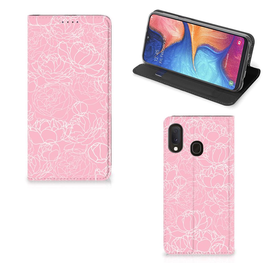 Samsung Galaxy A20e Smart Cover White Flowers
