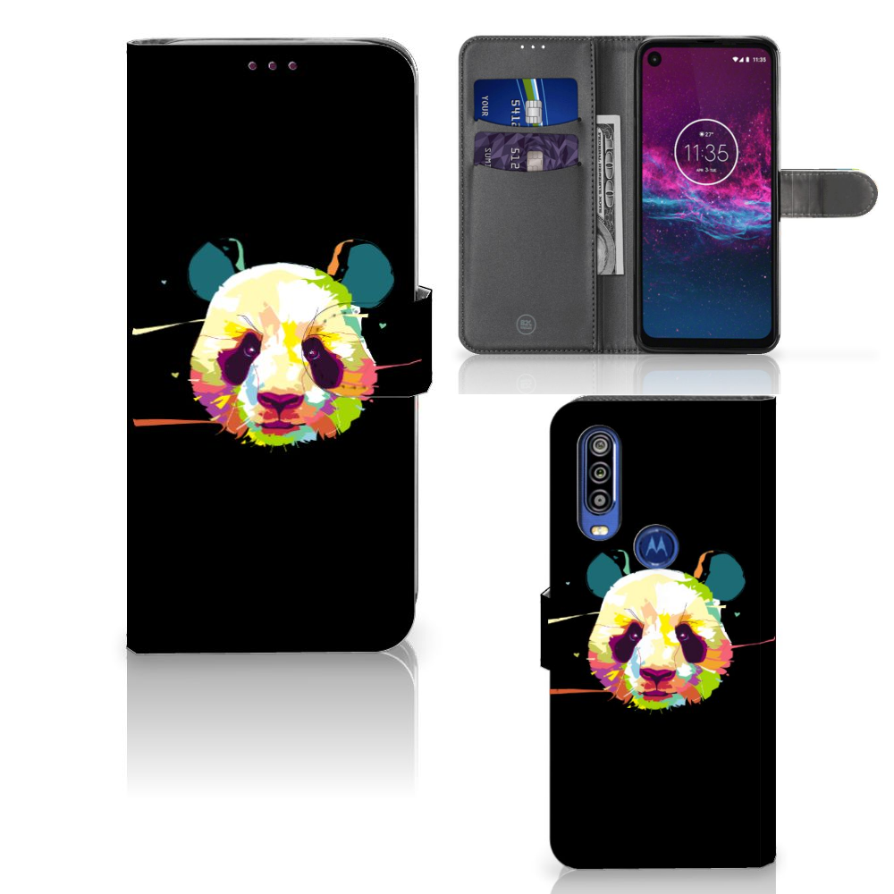 Motorola One Action Leuk Hoesje Panda Color
