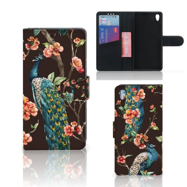Sony Xperia Z5 | Z5 Dual Telefoonhoesje met Pasjes Pauw met Bloemen