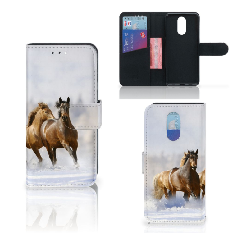 LG Q7 Telefoonhoesje met Pasjes Paarden