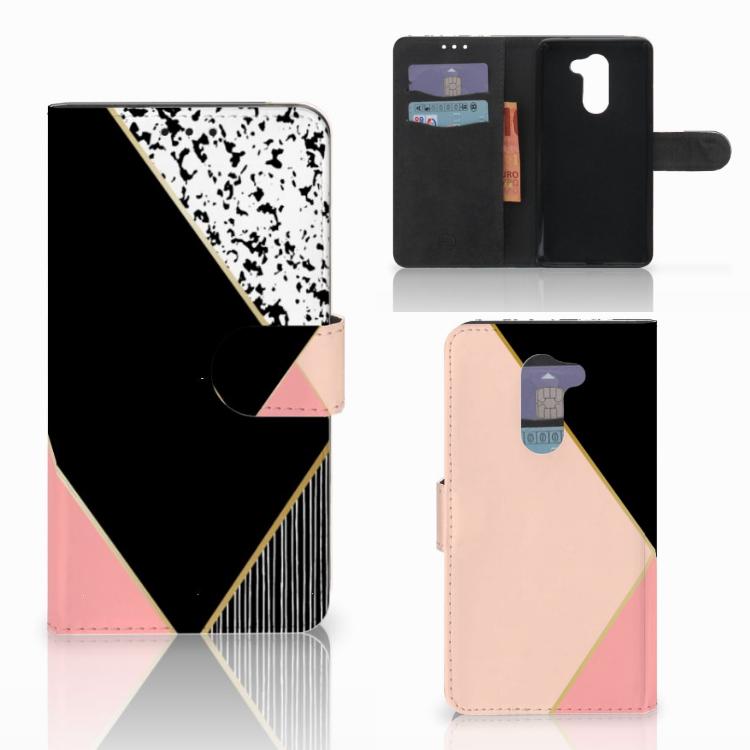 Huawei Honor 6X Bookcase Zwart Roze Vormen