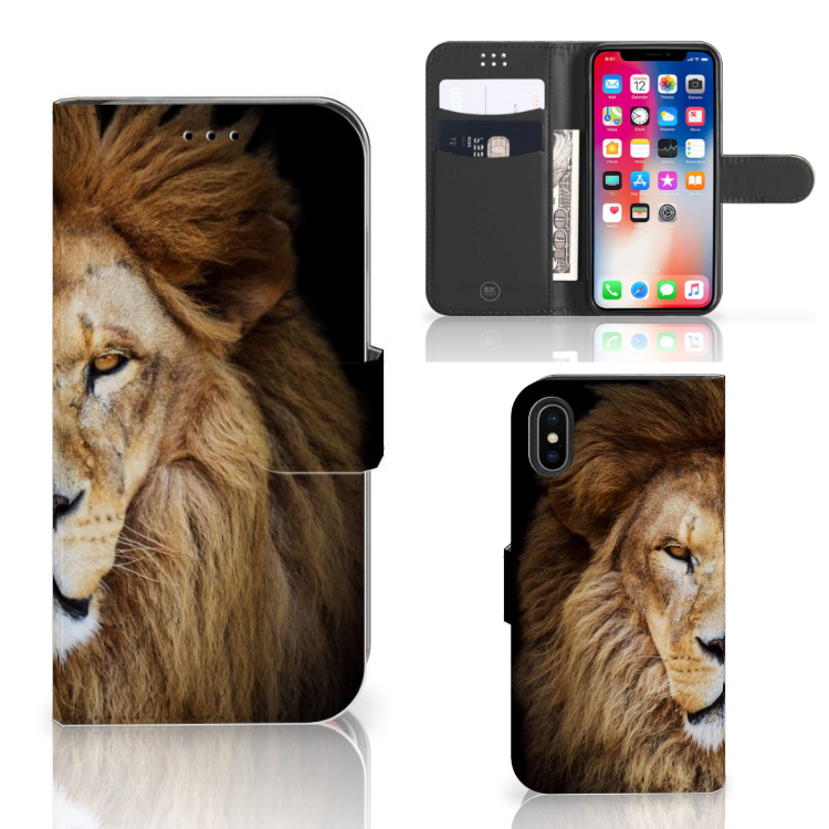 Apple iPhone X | Xs Telefoonhoesje met Pasjes Leeuw