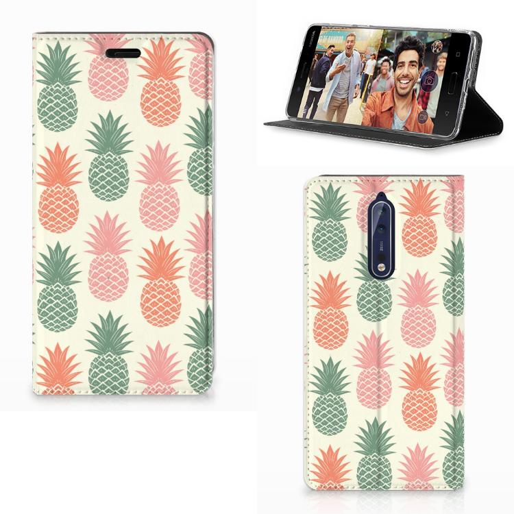 Nokia 8 Flip Style Cover Ananas