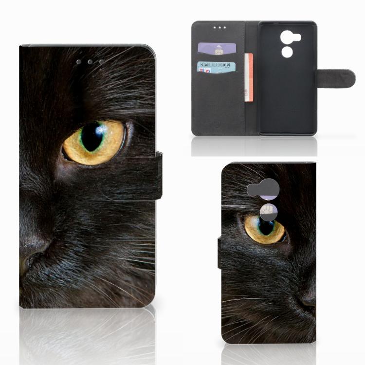 Huawei Mate 8 Telefoonhoesje met Pasjes Zwarte Kat