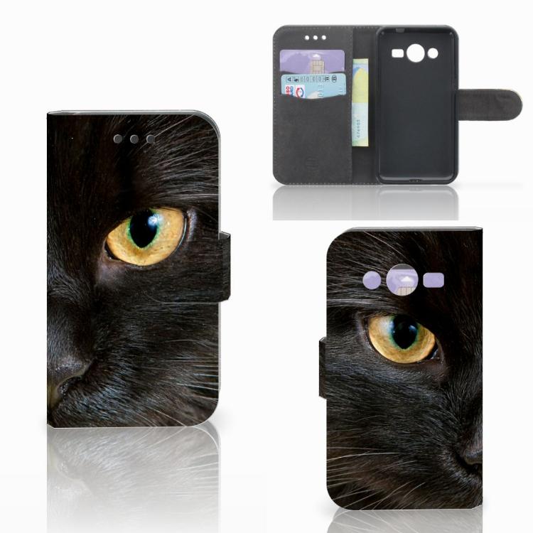 Samsung Galaxy Core 2 Telefoonhoesje met Pasjes Zwarte Kat