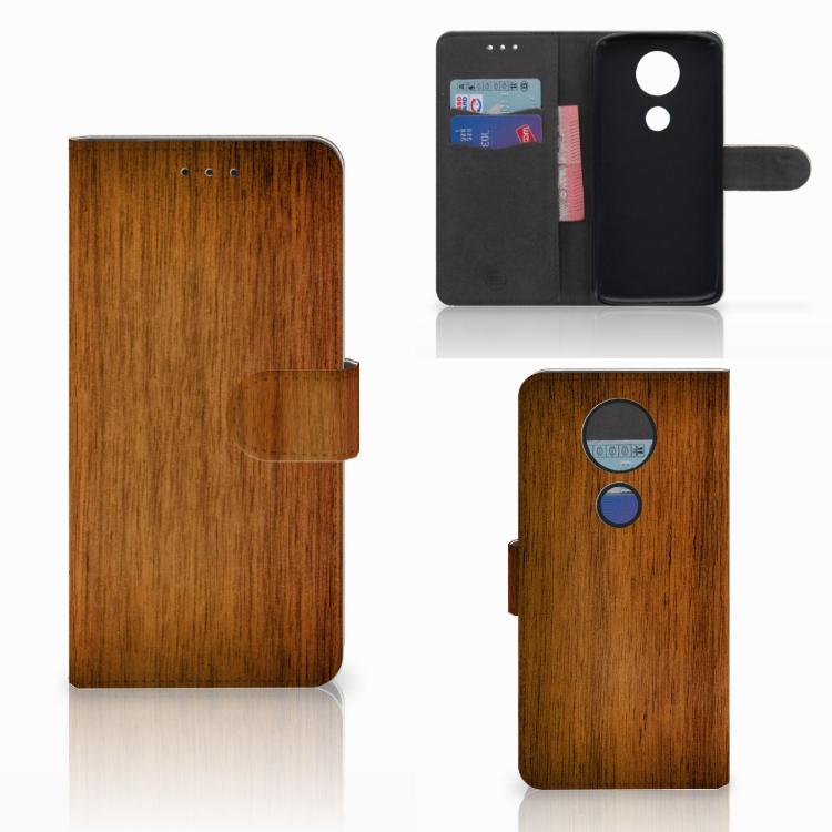 Motorola Moto E5 Plus Book Style Case Donker Hout
