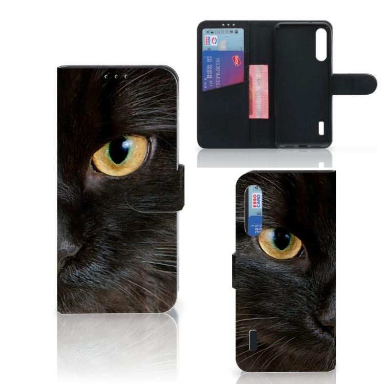 Xiaomi Mi A3 Telefoonhoesje met Pasjes Zwarte Kat