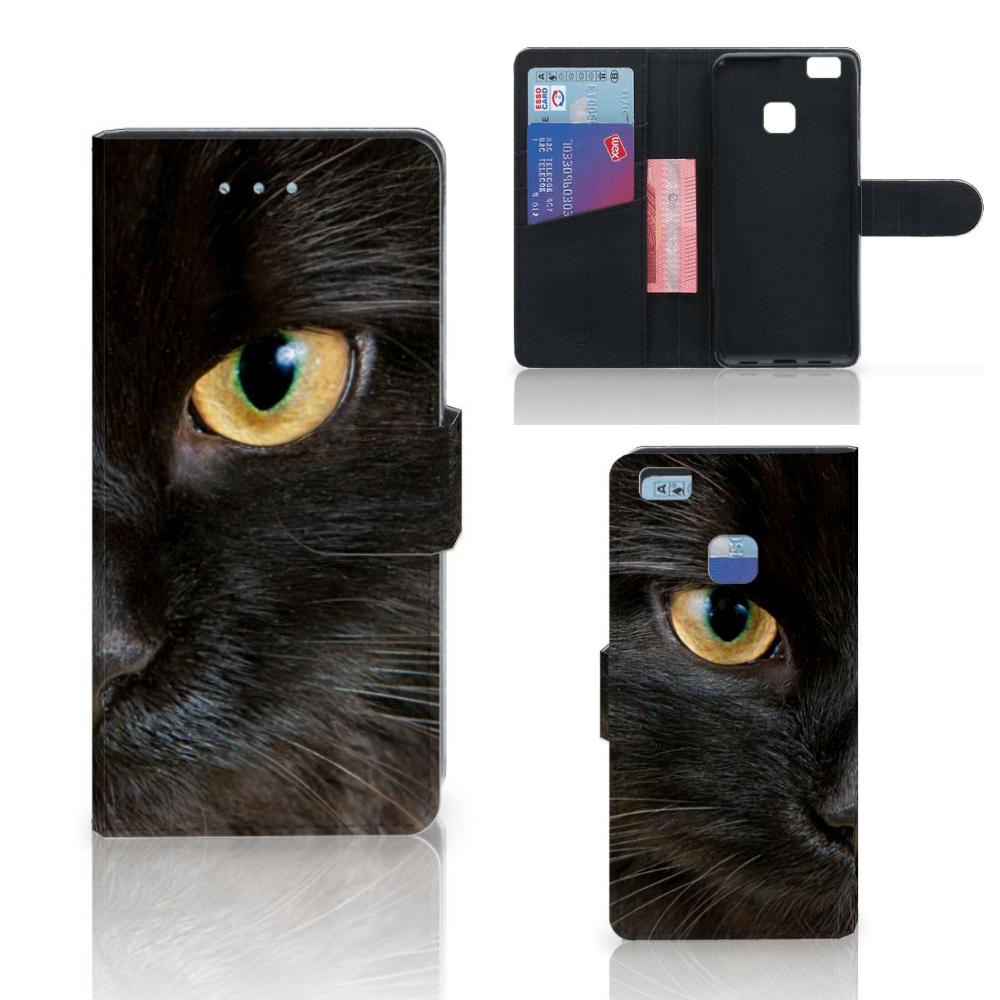 Huawei P9 Lite Telefoonhoesje met Pasjes Zwarte Kat