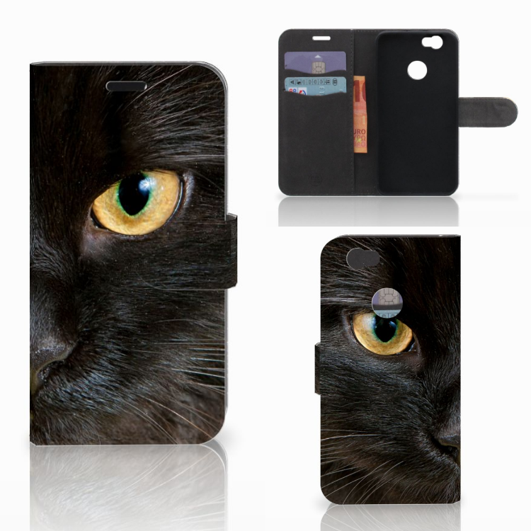 Huawei Nova Telefoonhoesje met Pasjes Zwarte Kat