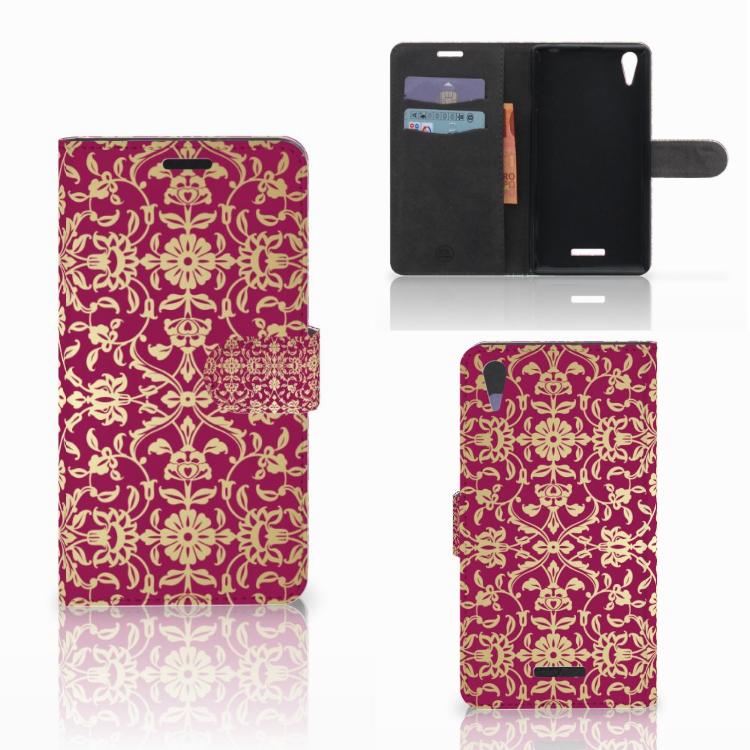 Wallet Case Sony Xperia T3 Barok Pink