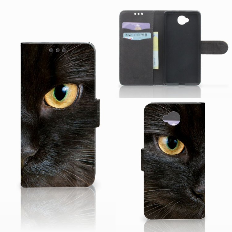 Microsoft Lumia 650 Telefoonhoesje met Pasjes Zwarte Kat