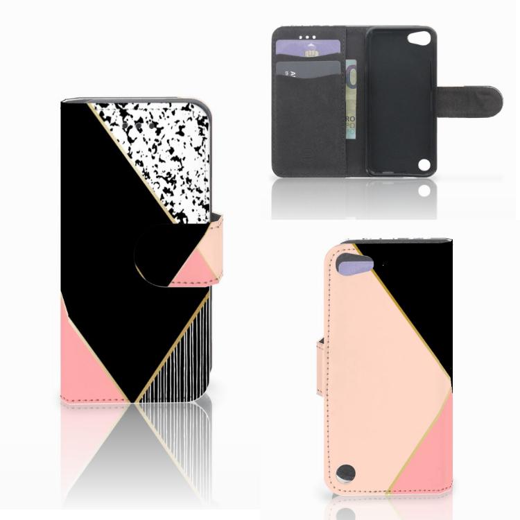 Apple iPod Touch 5 | 6 | iPod (2019) Bookcase Zwart Roze Vormen