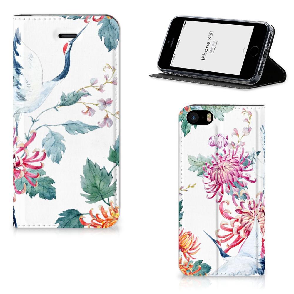 iPhone SE 5S 5 Hoesje maken Bird Flowers