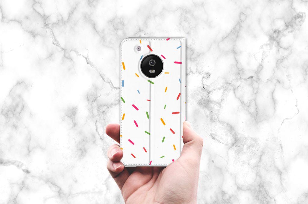 Motorola Moto G5 Plus Flip Style Cover Donut Roze