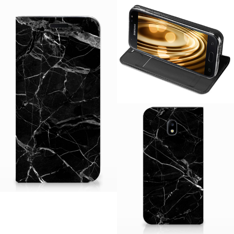 Samsung Galaxy J3 2017 Standcase Marmer Zwart - Origineel Cadeau Vader