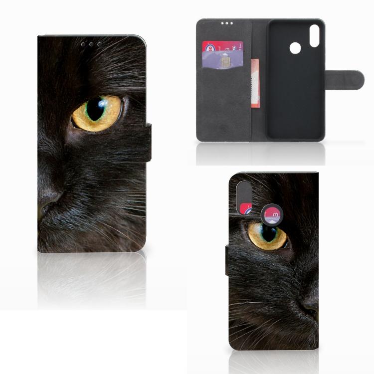 Huawei P Smart Plus Telefoonhoesje met Pasjes Zwarte Kat