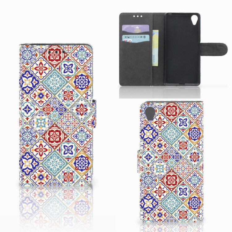Sony Xperia X Bookcase Tiles Color