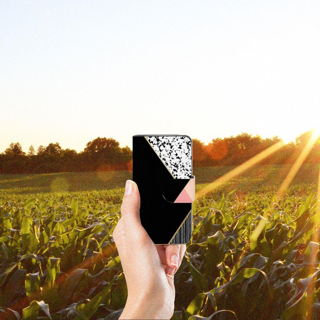 Samsung Galaxy Trend 2 Uniek Boekhoesje Black Pink Shapes