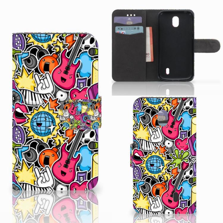 Nokia 1 Wallet Case met Pasjes Punk Rock