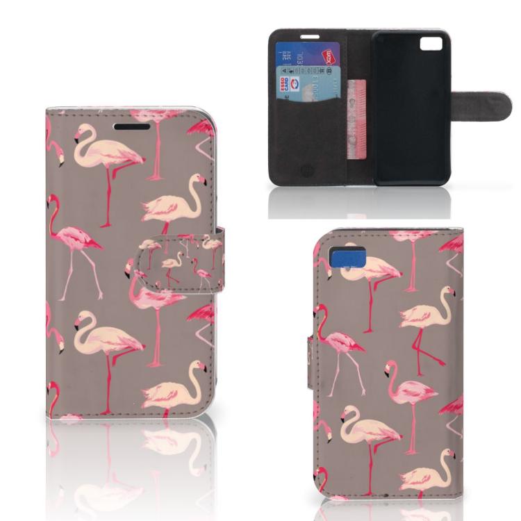 Blackberry Z10 Telefoonhoesje met Pasjes Flamingo