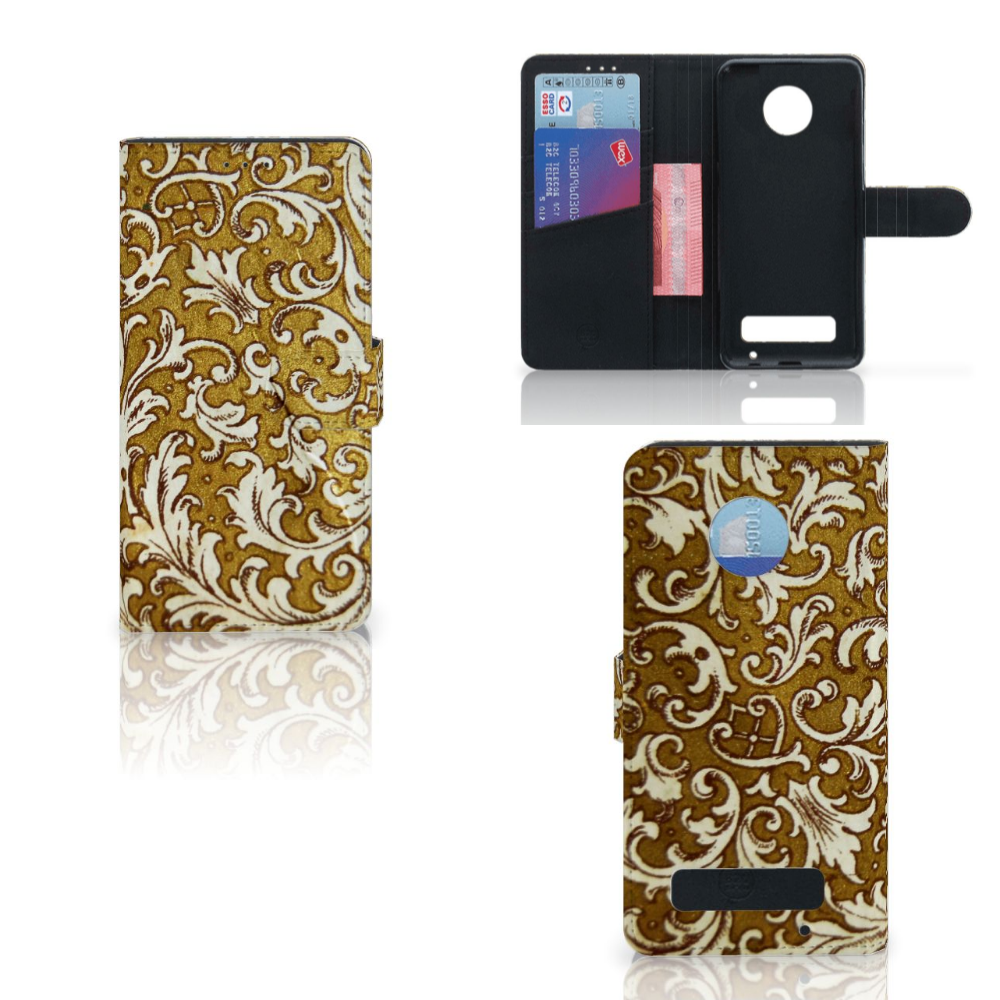 Wallet Case Motorola Moto Z Play Barok Goud