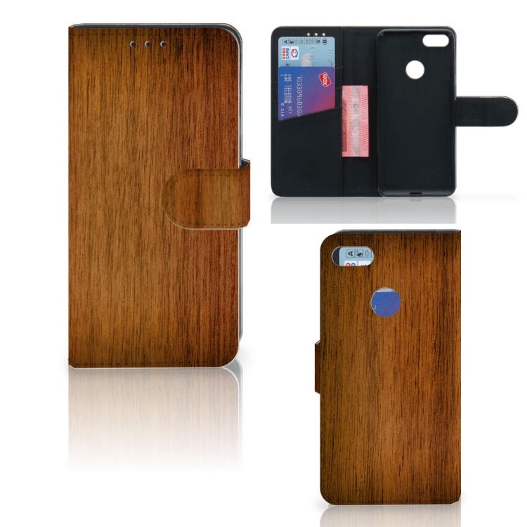 Motorola Moto E6 Play Book Style Case Donker Hout