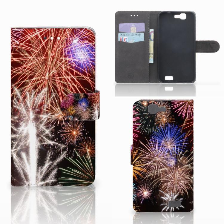 Huawei Ascend G7 Wallet Case met Pasjes Vuurwerk