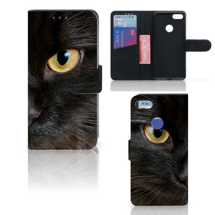 Motorola Moto E6 Play Telefoonhoesje met Pasjes Zwarte Kat