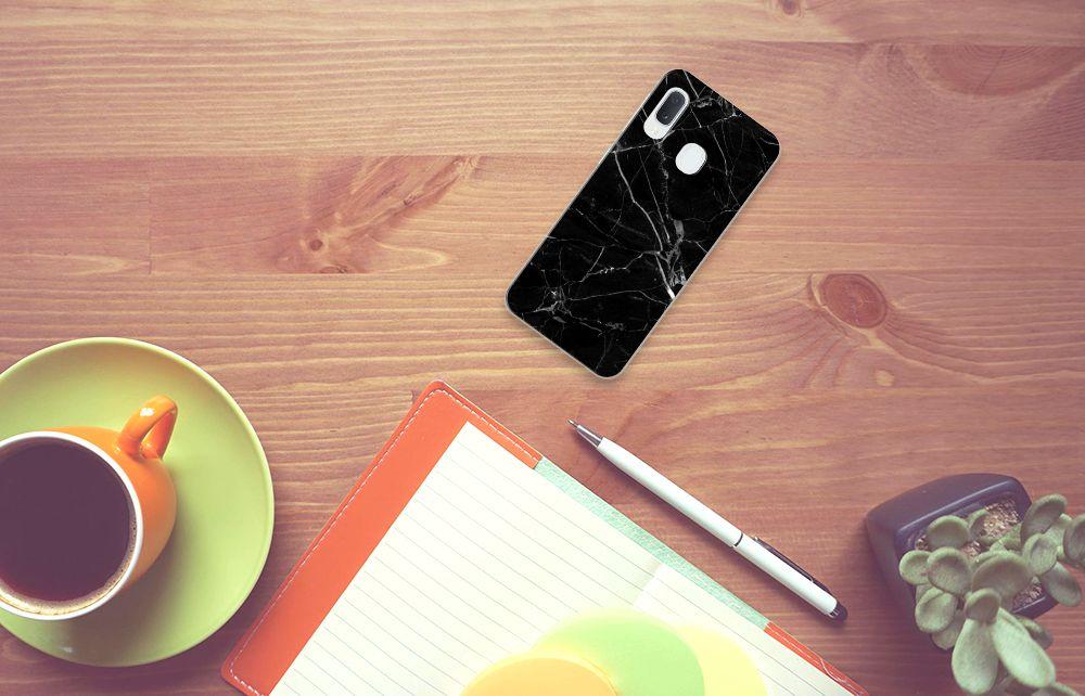Samsung Galaxy A20e TPU Siliconen Hoesje Marmer Zwart - Origineel Cadeau Vader