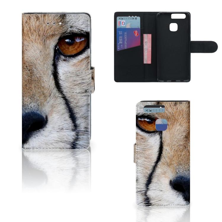 Huawei P9 Telefoonhoesje met Pasjes Cheetah