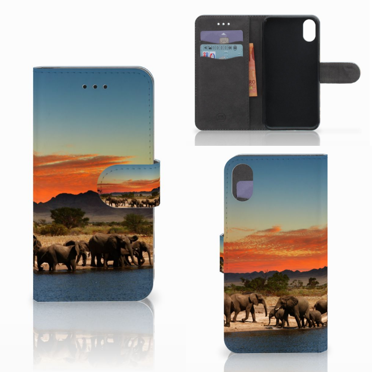 Apple iPhone X | Xs Telefoonhoesje met Pasjes Olifanten