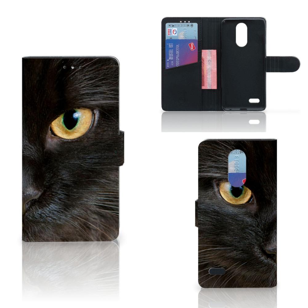 LG K10 (2017) Telefoonhoesje met Pasjes Zwarte Kat