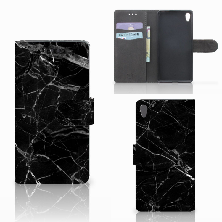 Sony Xperia E5 Bookcase Marmer Zwart