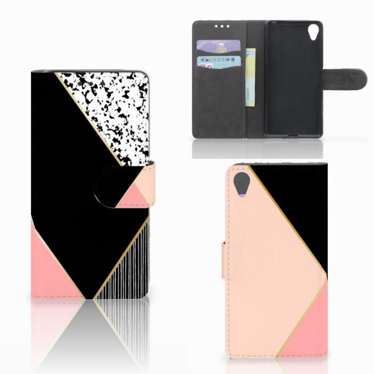 Sony Xperia X Bookcase Zwart Roze Vormen