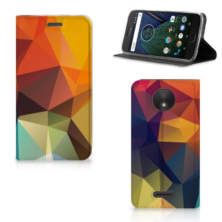 Motorola Moto C Plus Stand Case Polygon Color