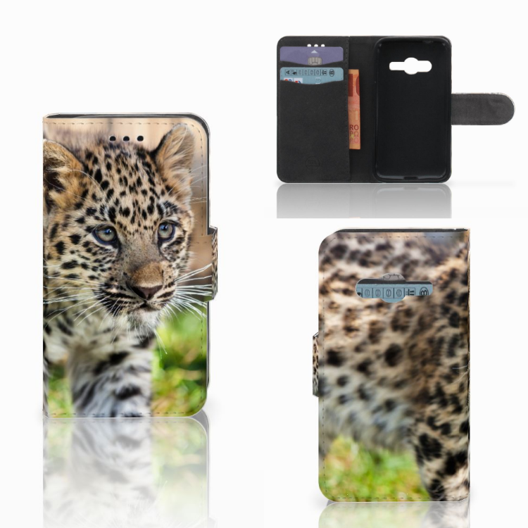 Samsung Galaxy Trend 2 Telefoonhoesje met Pasjes Baby Luipaard