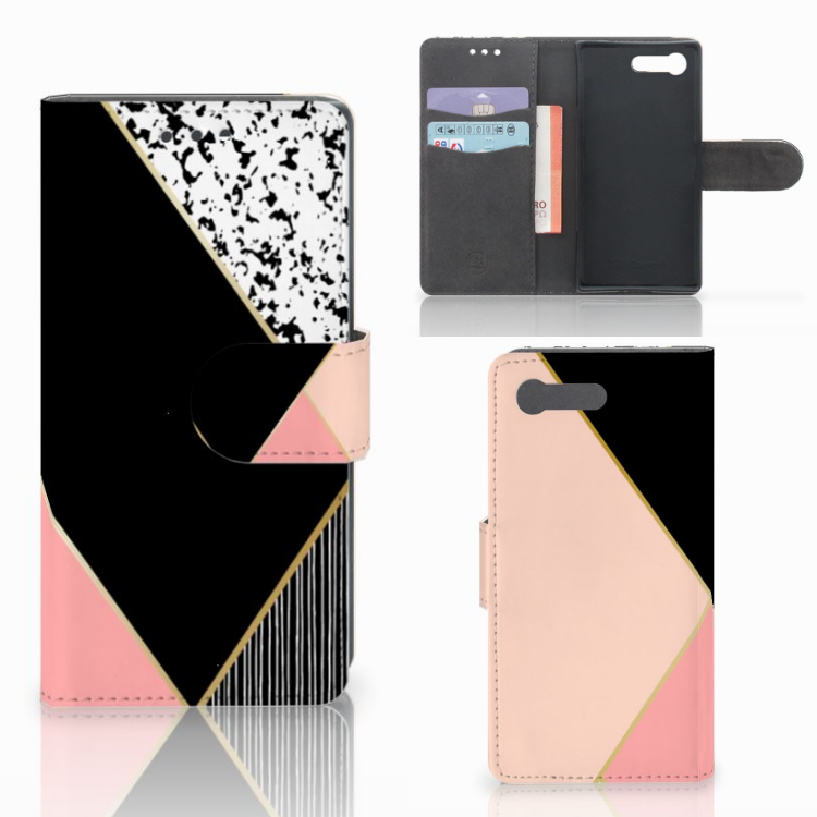 Sony Xperia X Compact Bookcase Zwart Roze Vormen