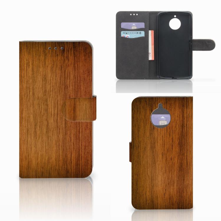 Motorola Moto E4 Plus Book Style Case Donker Hout