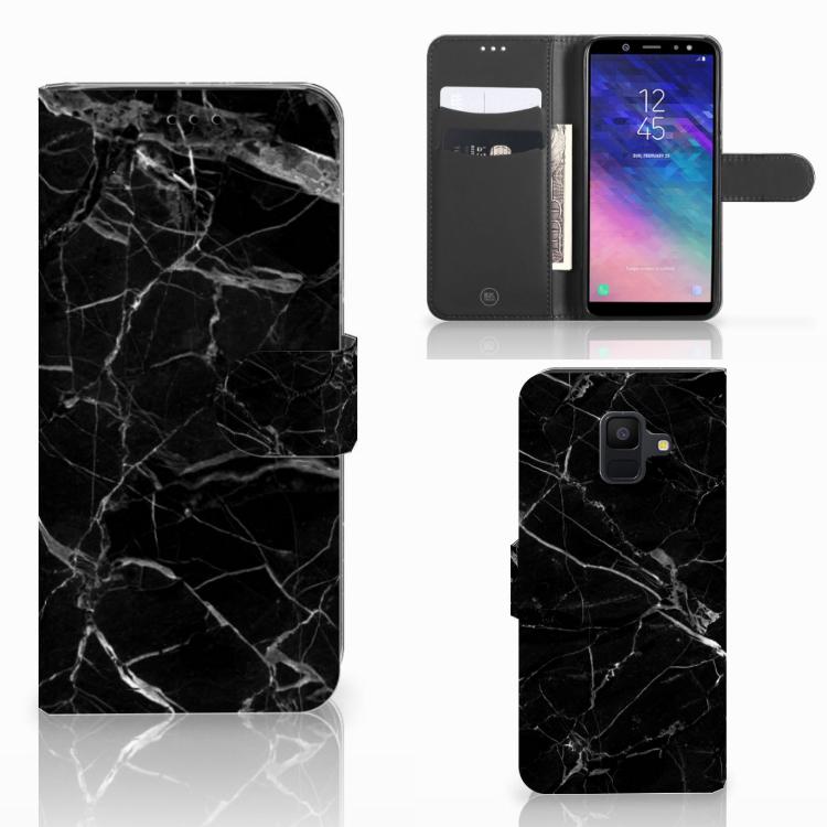 Samsung Galaxy A6 2018 Bookcase Marmer Zwart