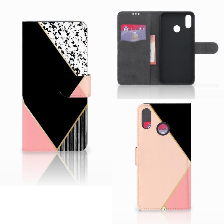 Huawei P Smart Plus Bookcase Zwart Roze Vormen