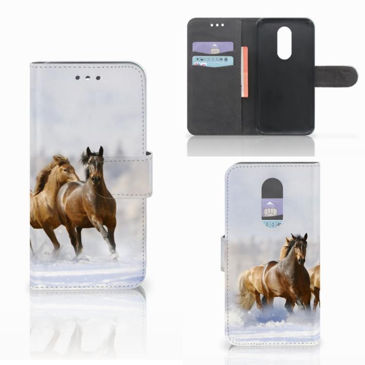 Wiko Wim Lite Telefoonhoesje met Pasjes Paarden
