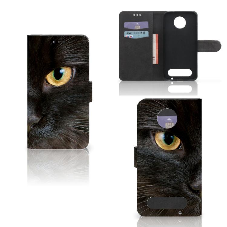 Motorola Moto Z2 Force Telefoonhoesje met Pasjes Zwarte Kat