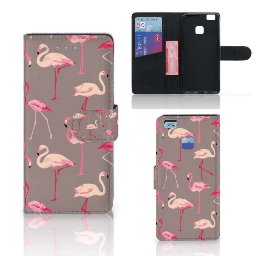 Huawei P9 Lite Telefoonhoesje met Pasjes Flamingo
