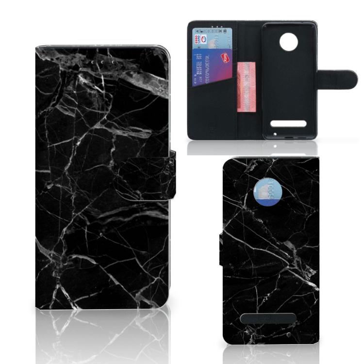 Motorola Moto Z2 Play Bookcase Marmer Zwart