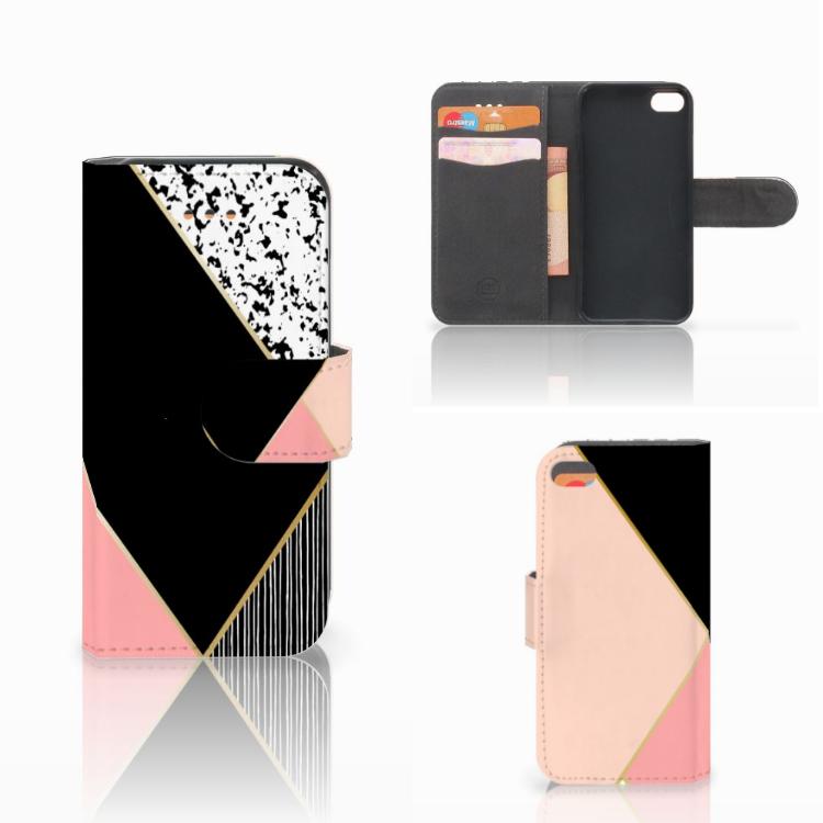 Apple iPhone 5C Bookcase Zwart Roze Vormen